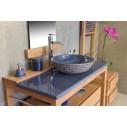 Meuble vasque en teck 80/100 cm avec plan en pierre de lave émaillée et tiroir