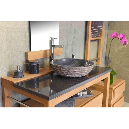 Meuble vasque en teck 80 ou 100 cm avec plan en pierre de lave émaillée et tiroir