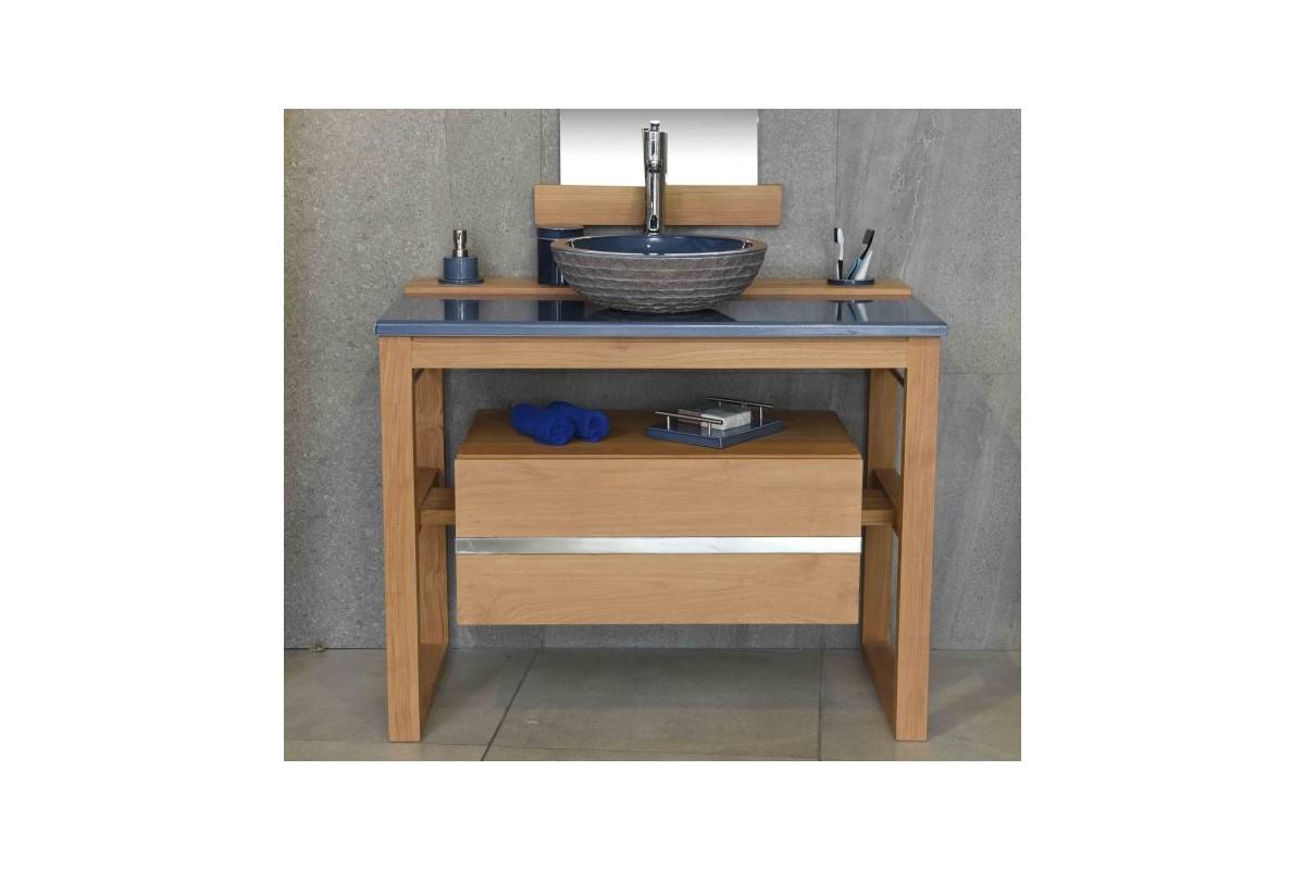 Meuble vasque en teck 80 100 cm et plan en pierre de lave maill e - Meuble vasque 80 ...