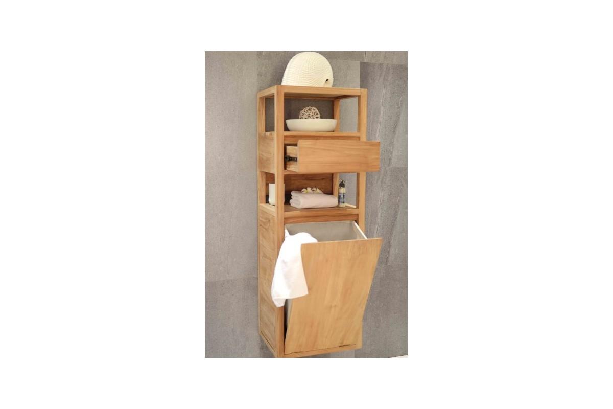 Colonne en teck avec panier linge et tiroir 130 cm - Colonne de salle de bain avec tiroir ...