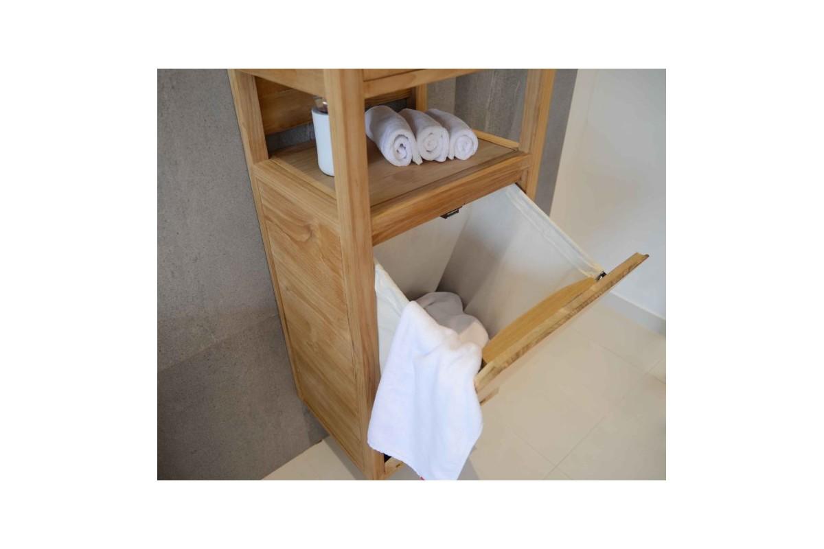 colonne en teck avec panier linge et tiroir 130 cm la. Black Bedroom Furniture Sets. Home Design Ideas