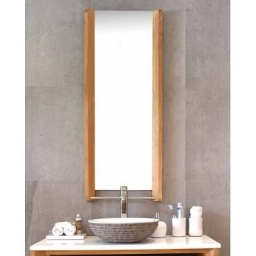 Miroir en teck 120 cm, bords bizeautés