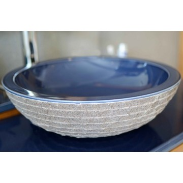 Vasque ronde en pierre de lave émaillée D 40 cm