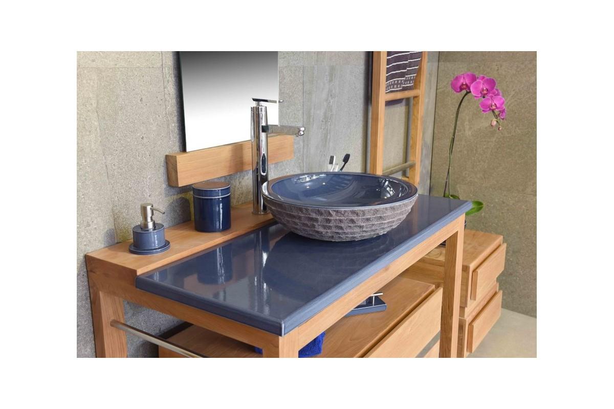 vasque ronde en pierre de lave maill e d 40 cm la galerie du teck. Black Bedroom Furniture Sets. Home Design Ideas