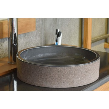 Vasque ronde cylindrique en pierre de lave émaillée D 36 cm
