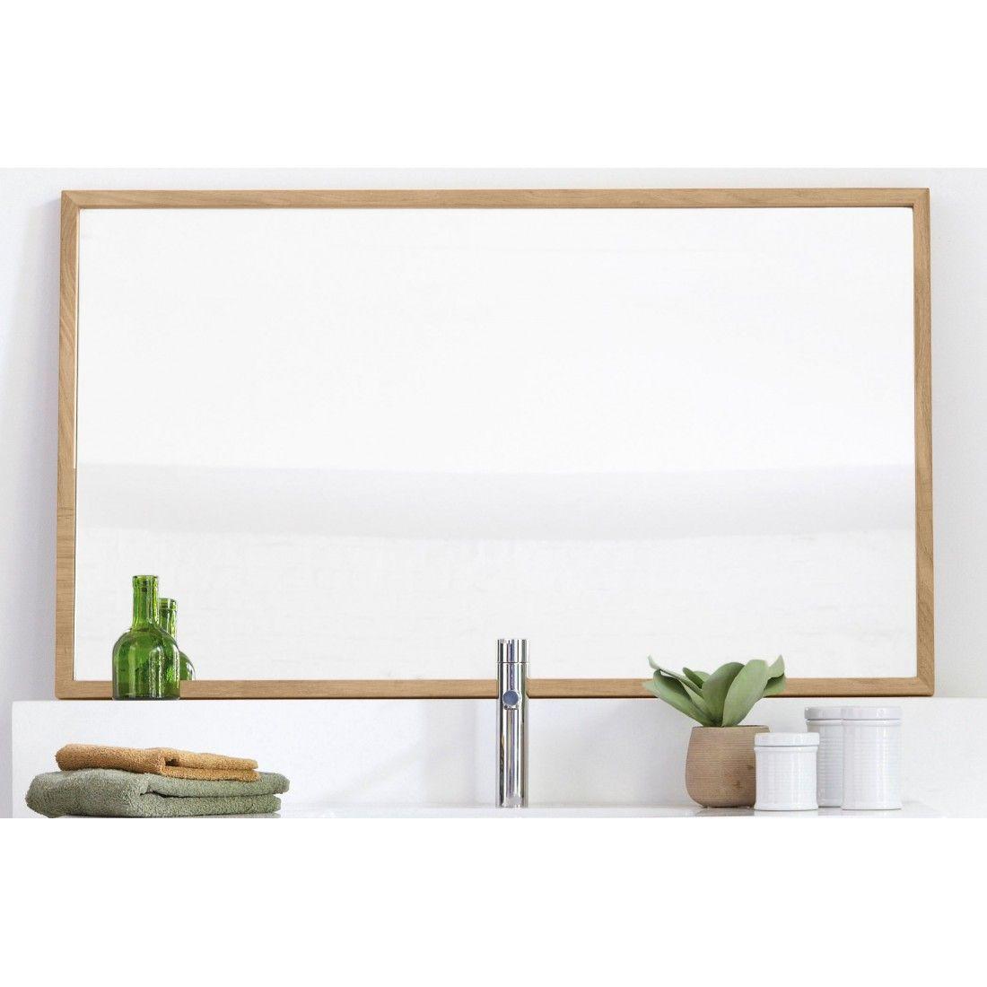 Miroir en teck massif avec des bords fins, Line Art