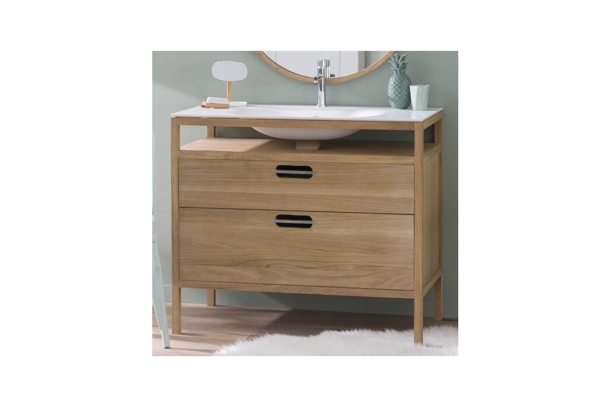 meuble en ch ne massif avec vasque int gr e cloud de line art la galerie du teck. Black Bedroom Furniture Sets. Home Design Ideas