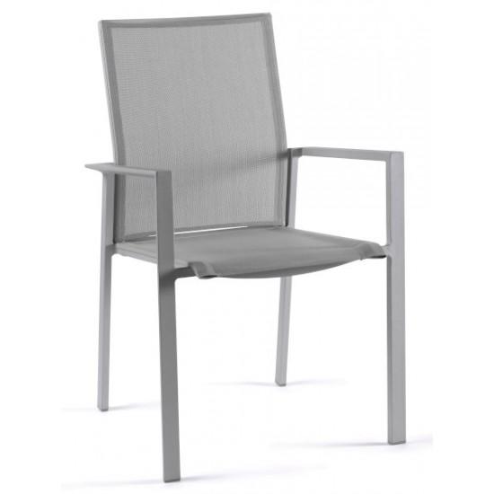 Chaise empilable en alu et textylène, Santini