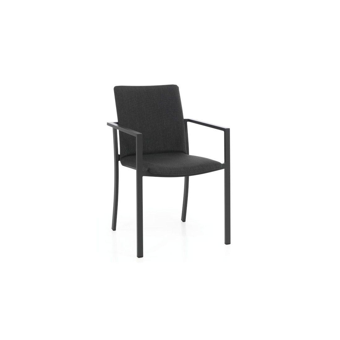 Chaise de jardin empilable en alu mat avec coussin, Toul