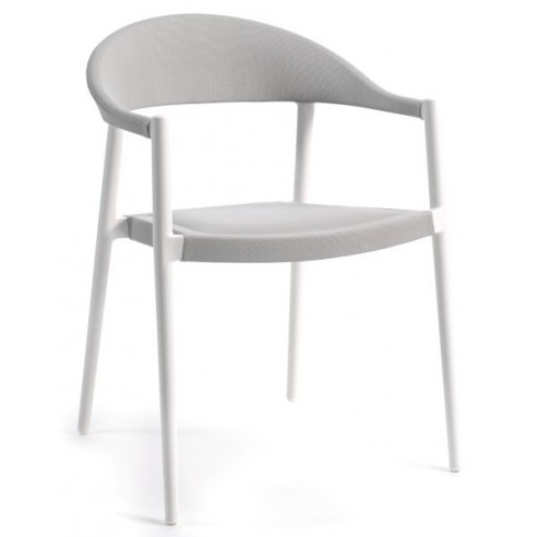 chaise de jardin empilable en alu mat et textyl ne ou olefin mat la galerie du teck. Black Bedroom Furniture Sets. Home Design Ideas
