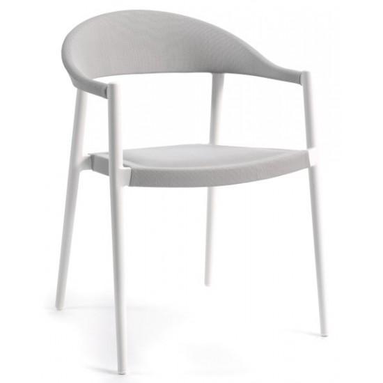 Chaise de jardin empilable en alu mat et textylène, Matteo