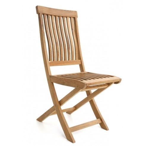 Chaise pliante galbée teck massif, modèle Salou