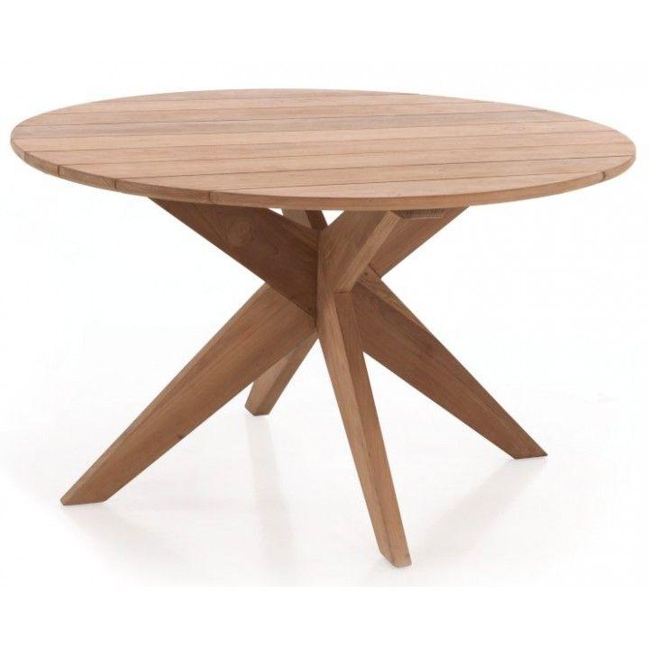 Table en teck pour le jardin, rectangulaire et ronde
