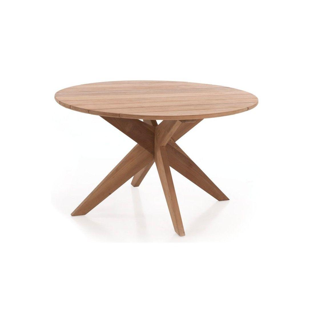 Table de jardin ronde en teck massif d 135 ou 165 cm, Java