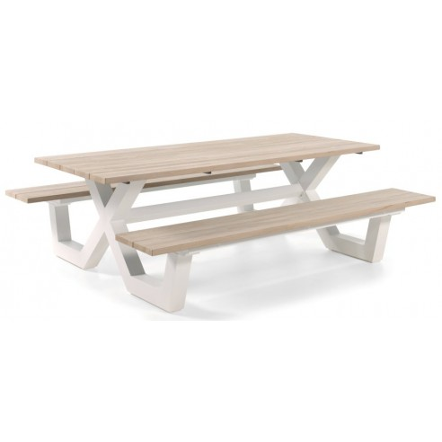 Table pique-nique avec bancs en teck massif et pieds en aluminium, Bonucci