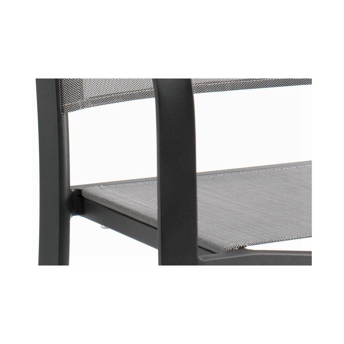 Chaise de bar haute 113 cm en alu et textylène