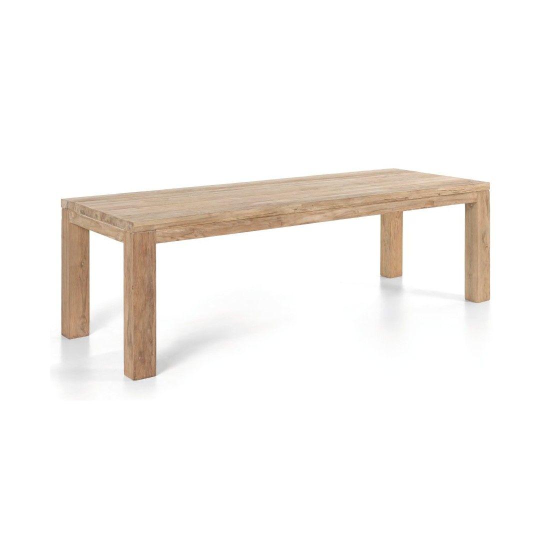 Table rectangulaire en vieux Teck massif, modèle Primitive