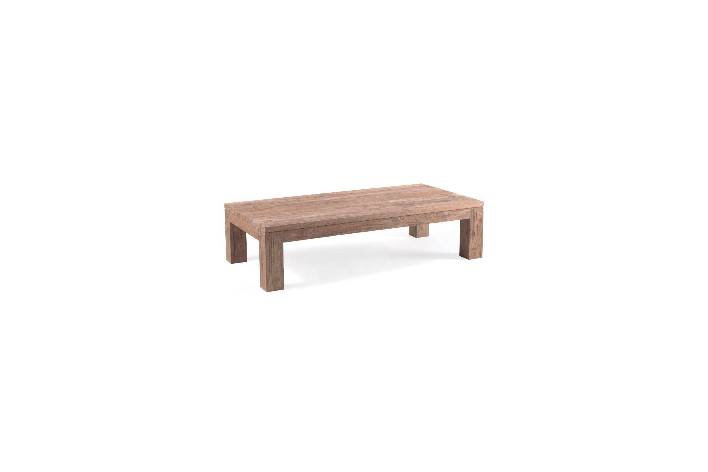 Table de jardin basse 140 cm vieux teck massif, Primitive ...