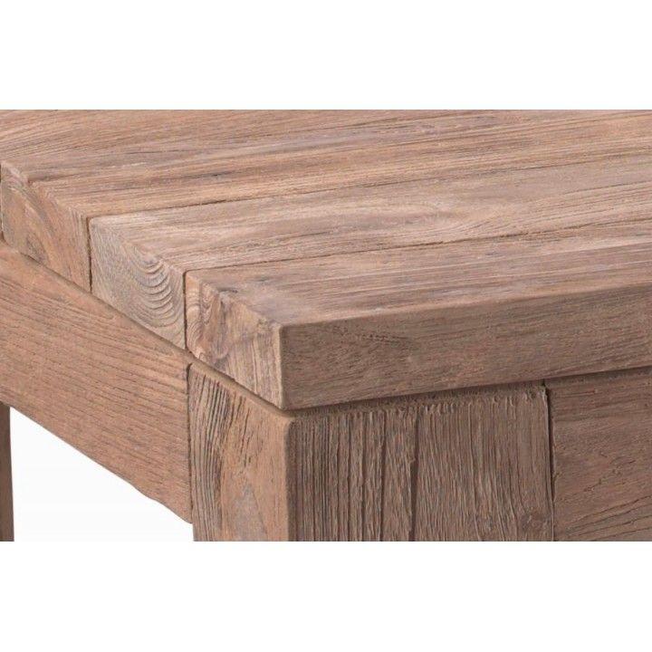 Table basse rectangulaire 140 cm en vieux teck massif, gamme Primitive
