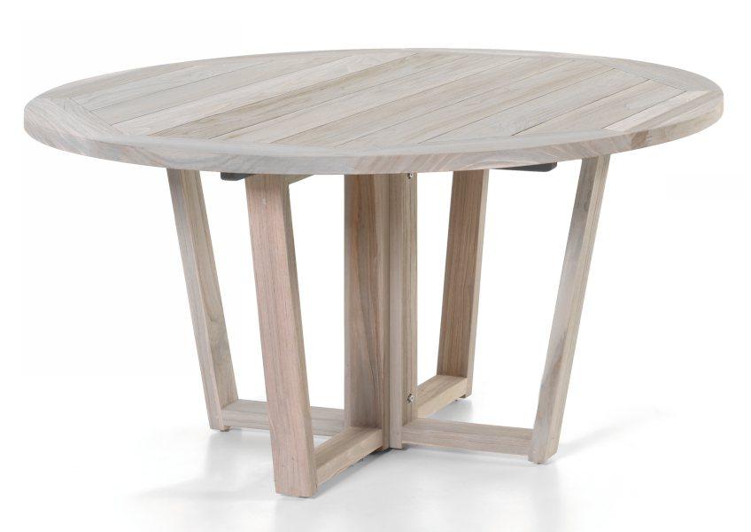 Table ronde en vieux teck massif finition délavée d 150 cm, 8 / 10 couverts