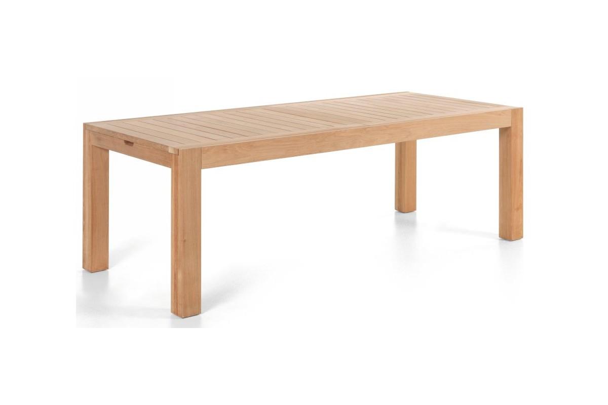 Table de jardin de grande taille en teck massif avec rallonge 220 ...