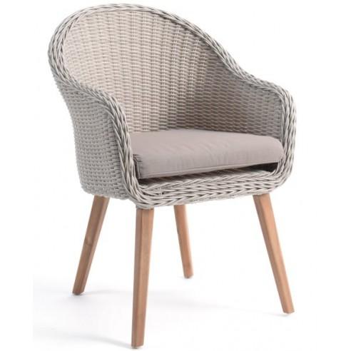 Chaise en résine tressée ronde avec un coussin et des pieds en teck, Far