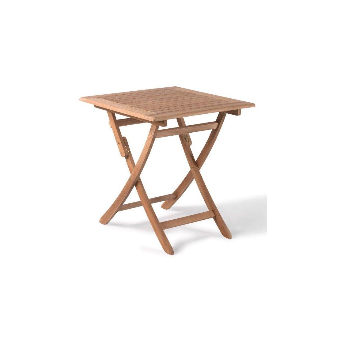 Petite table carrée 70 cm pliante en teck massif, Avignon