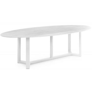 Table de jardin ovale avec un plateau en céramique plein, 260 cm