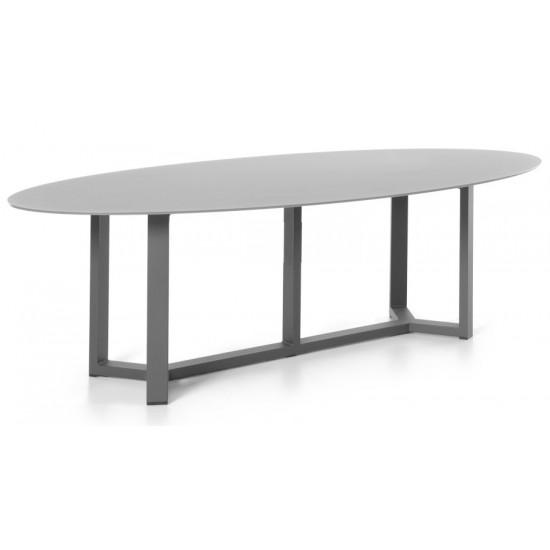 Table en aluminium blanc et verre blanc
