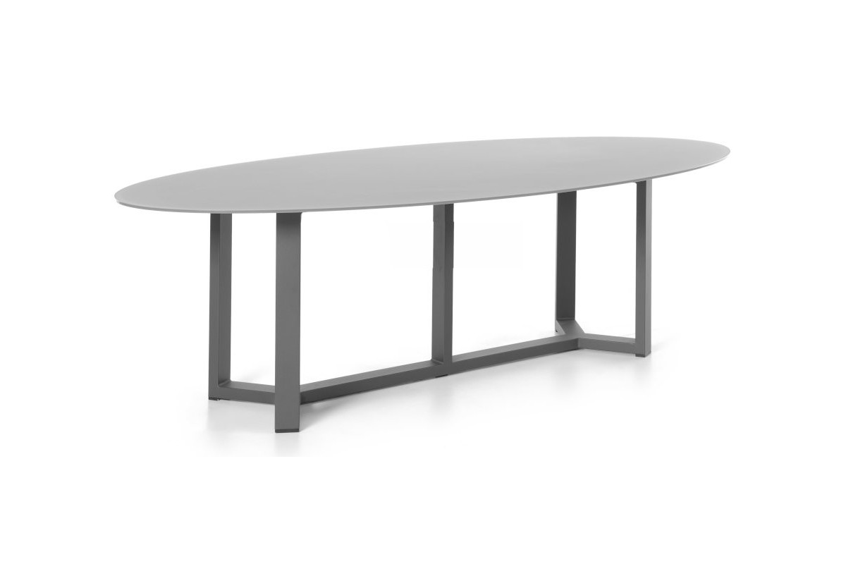 table de jardin ovale design 260 cm plateau en verre. Black Bedroom Furniture Sets. Home Design Ideas