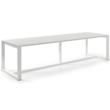 Table rectangulaire empiètement aluminium, plateau verre, modèle Montella