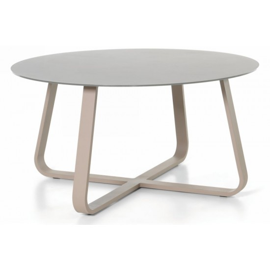 Table de jardin ronde et grise d 150 cm, FERRA