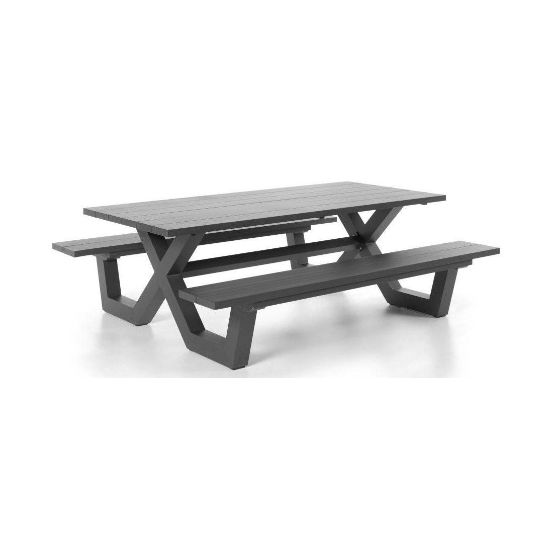 Table picnic en aluminium blanc ou charcoal 220 cm, Bonucci