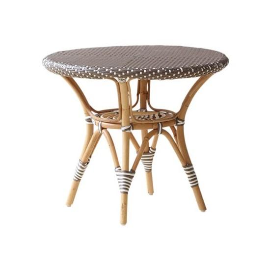 Table basse ronde en rotin et résine, d 60 cm