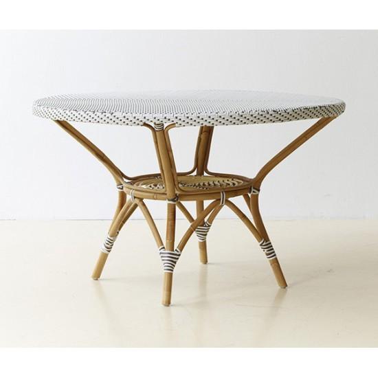 Table ronde en rotin et résine, d 120 cm
