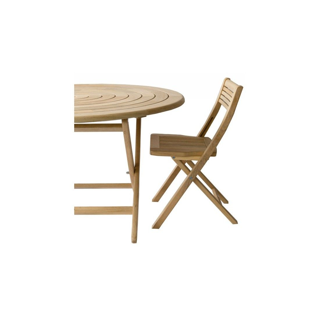 Table de jardin pliante et ronde 130 cm en bois massif, haut de gamme