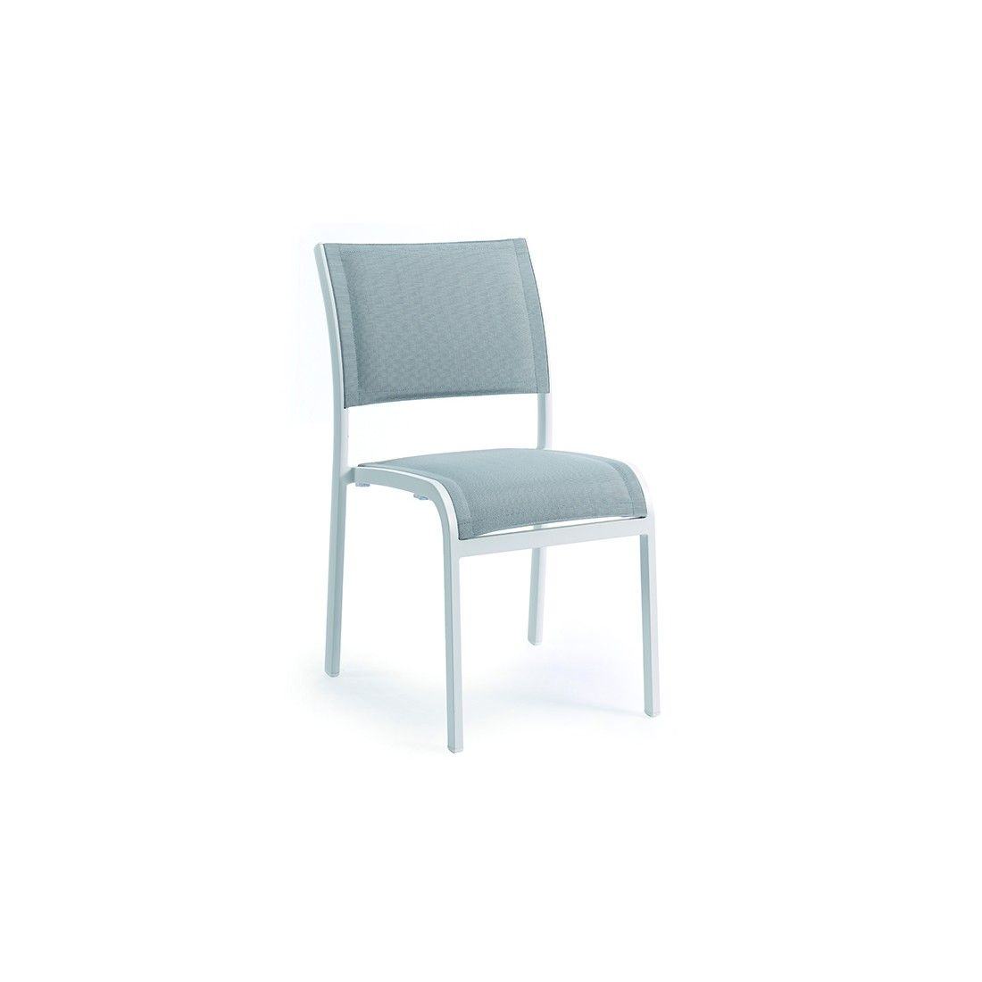 Chaise empilable en alu et double textylène, Nice
