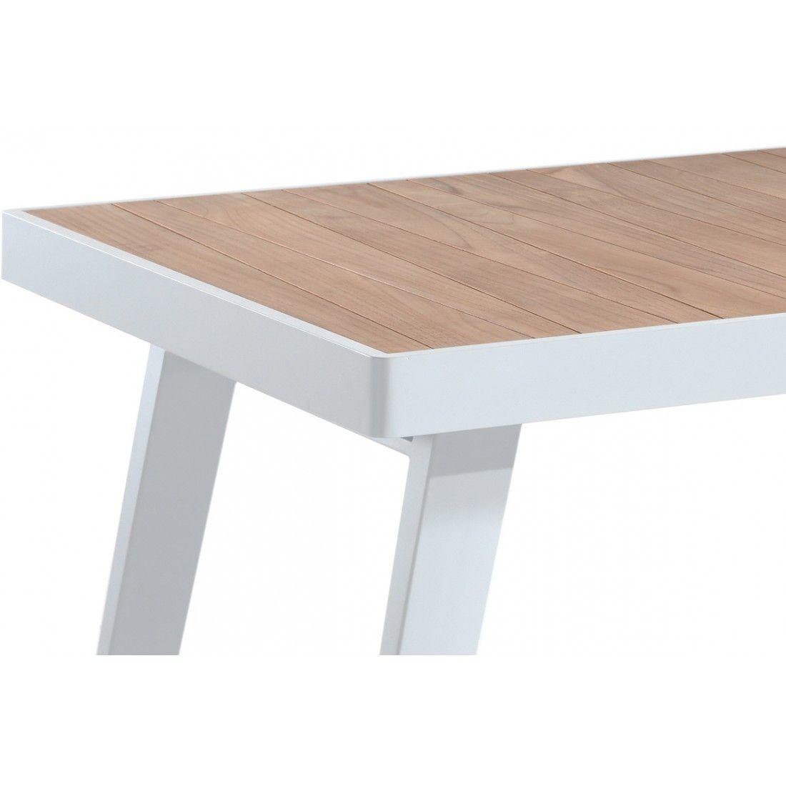 Table en teck massif 220 cm avec piètement en alu, Corso