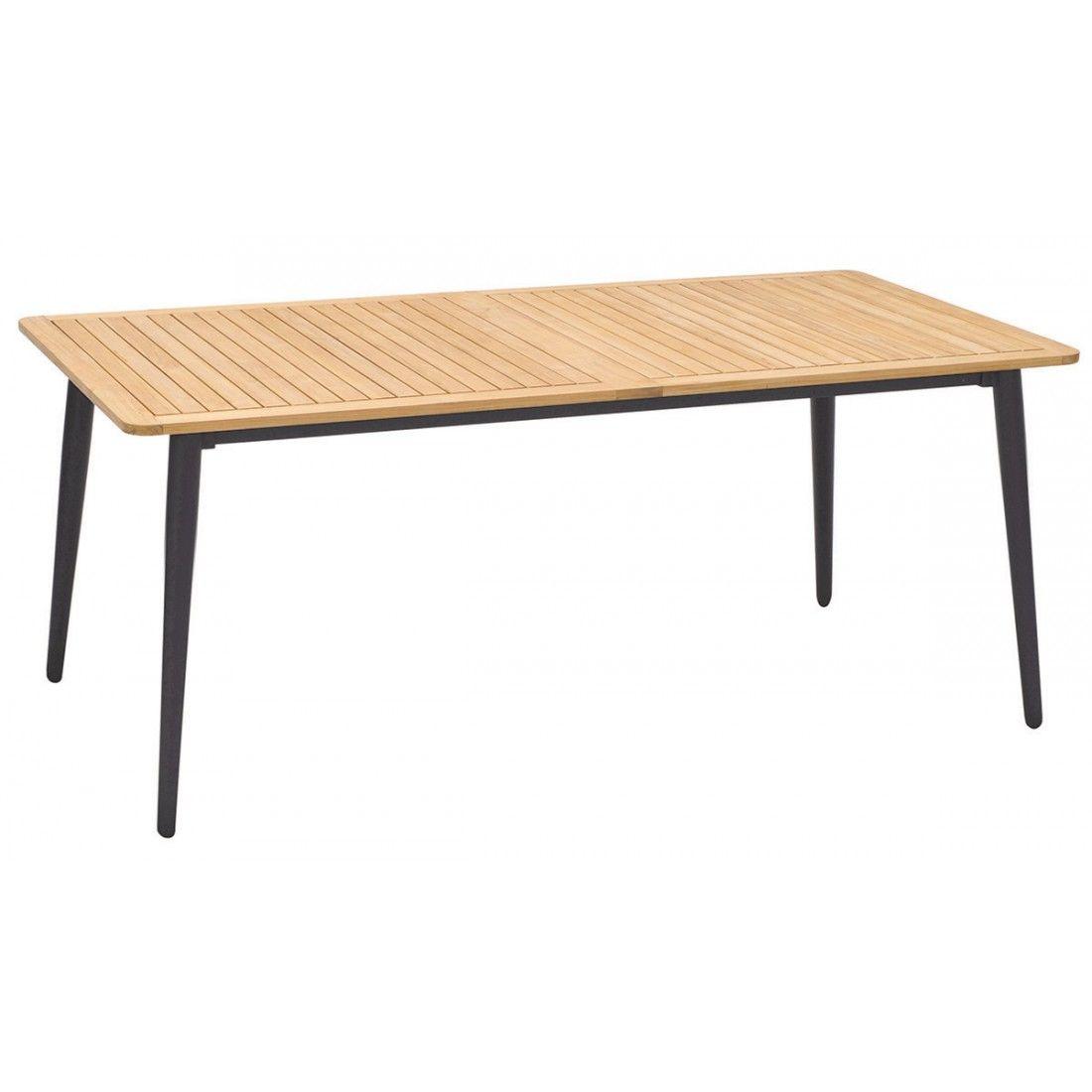 Table en teck massif et alu 185 cm, Enzo