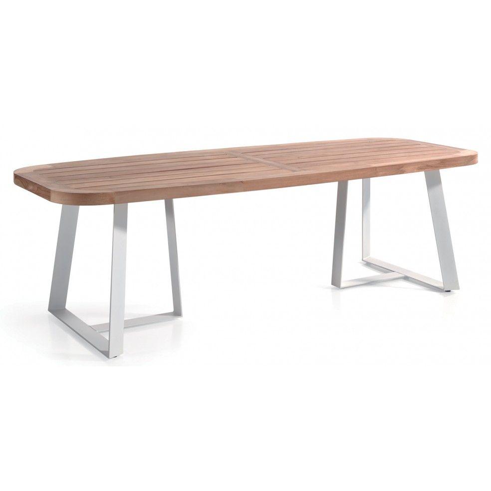 Table en teck 250 cm avec pieds en alu, Sienna