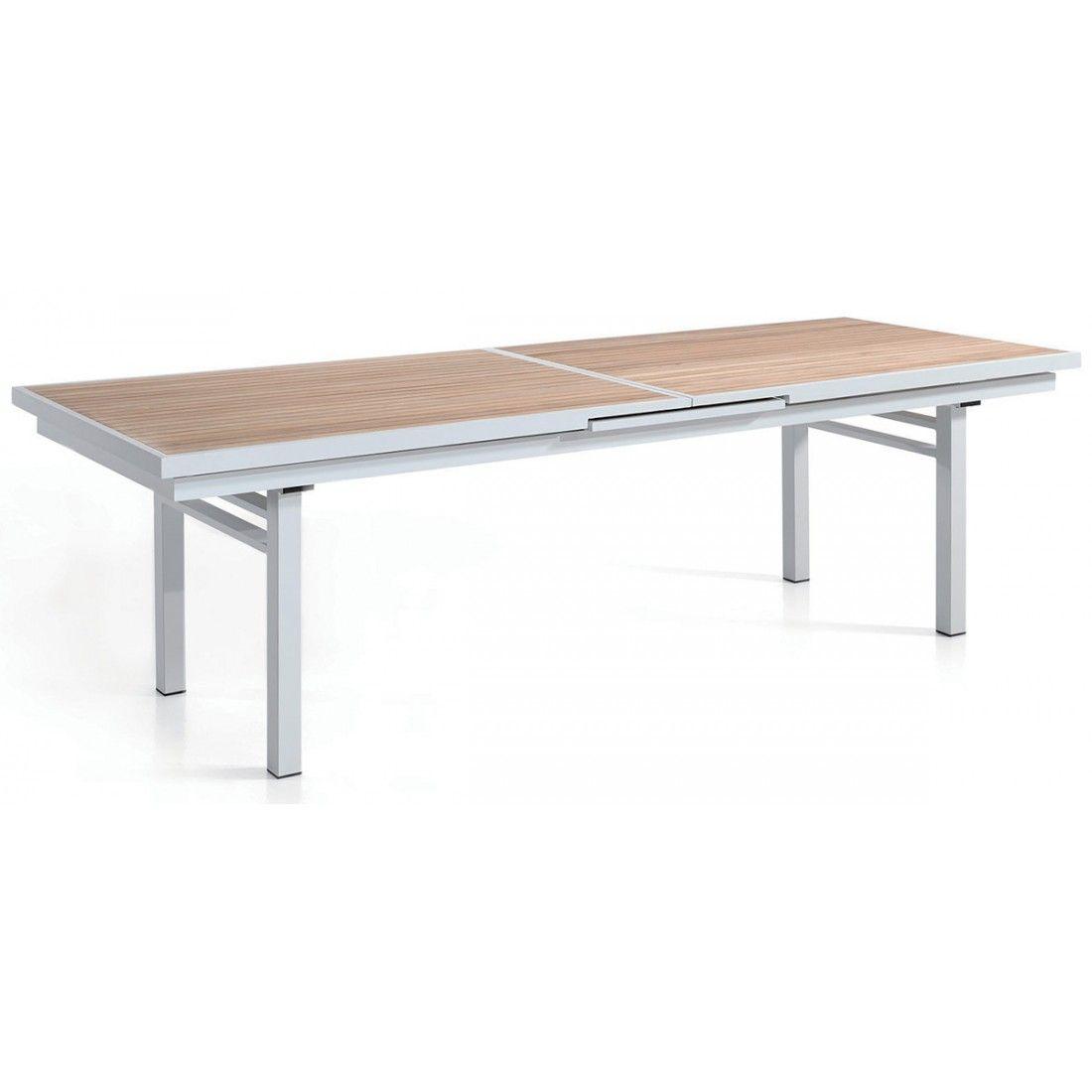 Table en teck avec rallonge et pieds en alu, 280-340 cm Lucia