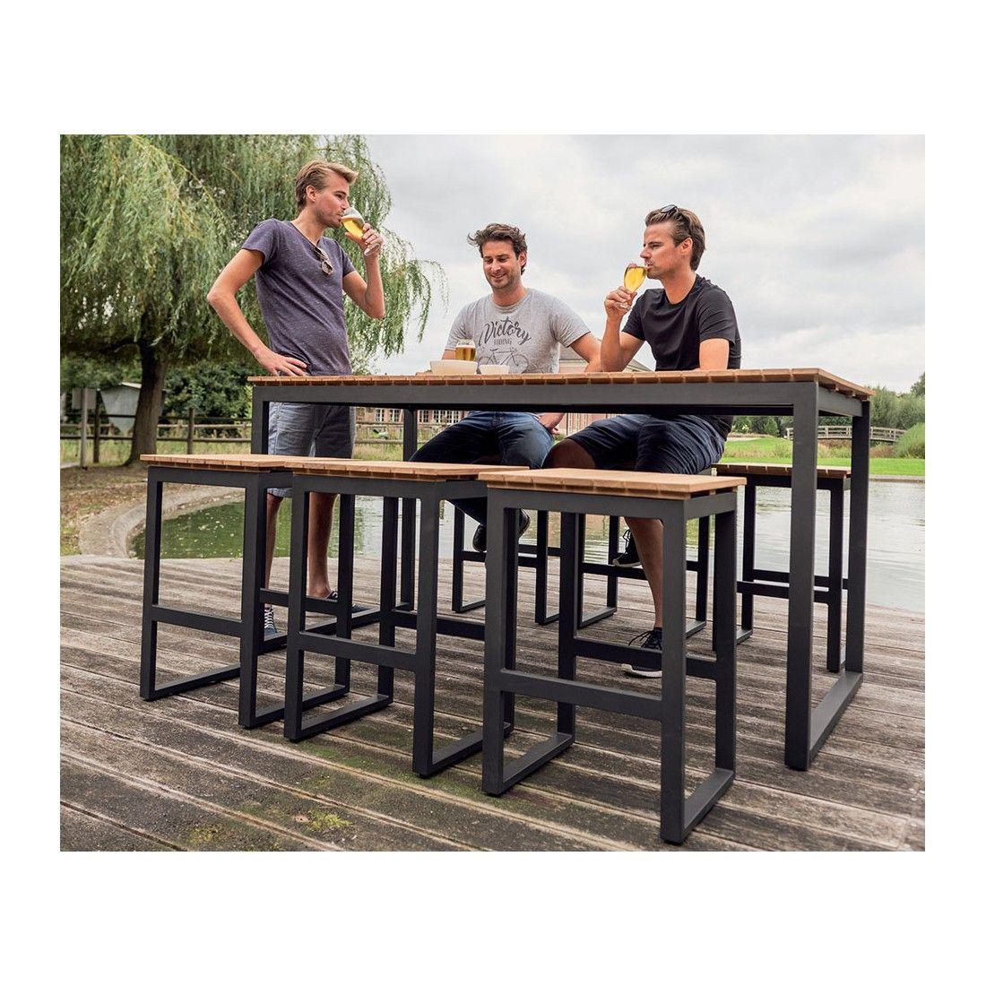 Table haute en teck avec pieds en alu, 180 cm Pisa