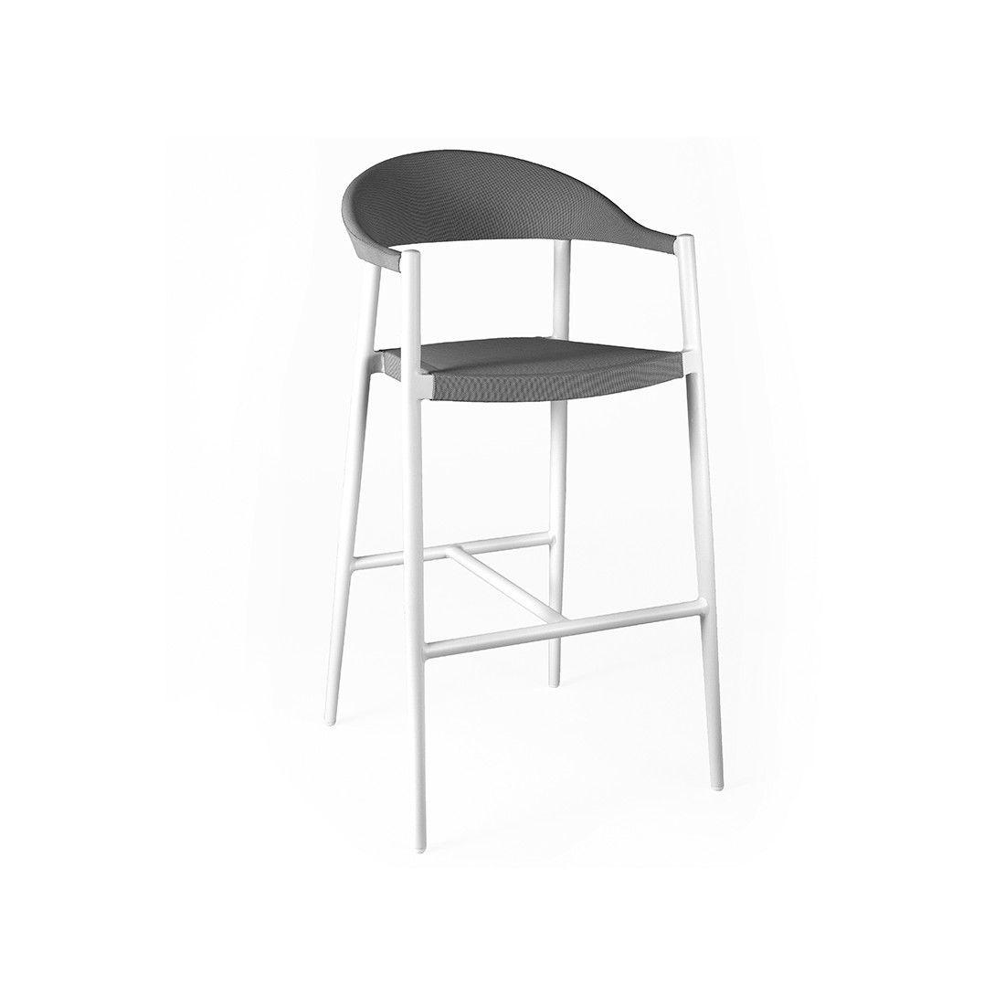 Chaise de bar haute 108 cm en alu et textylène, Matteo