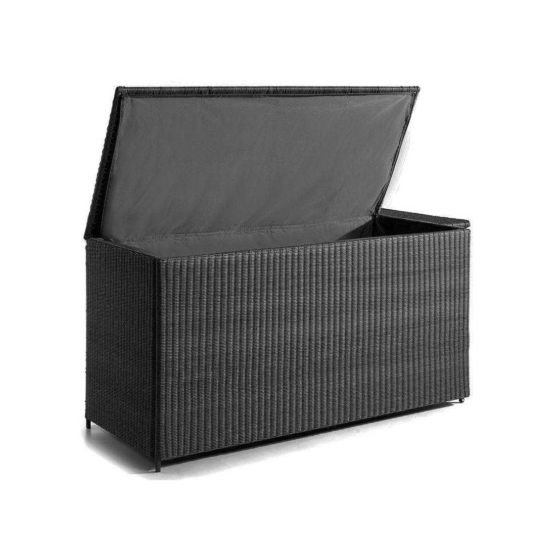Coffre de rangement extérieur 160 cm aluminium et résine tressée noire, Firenze