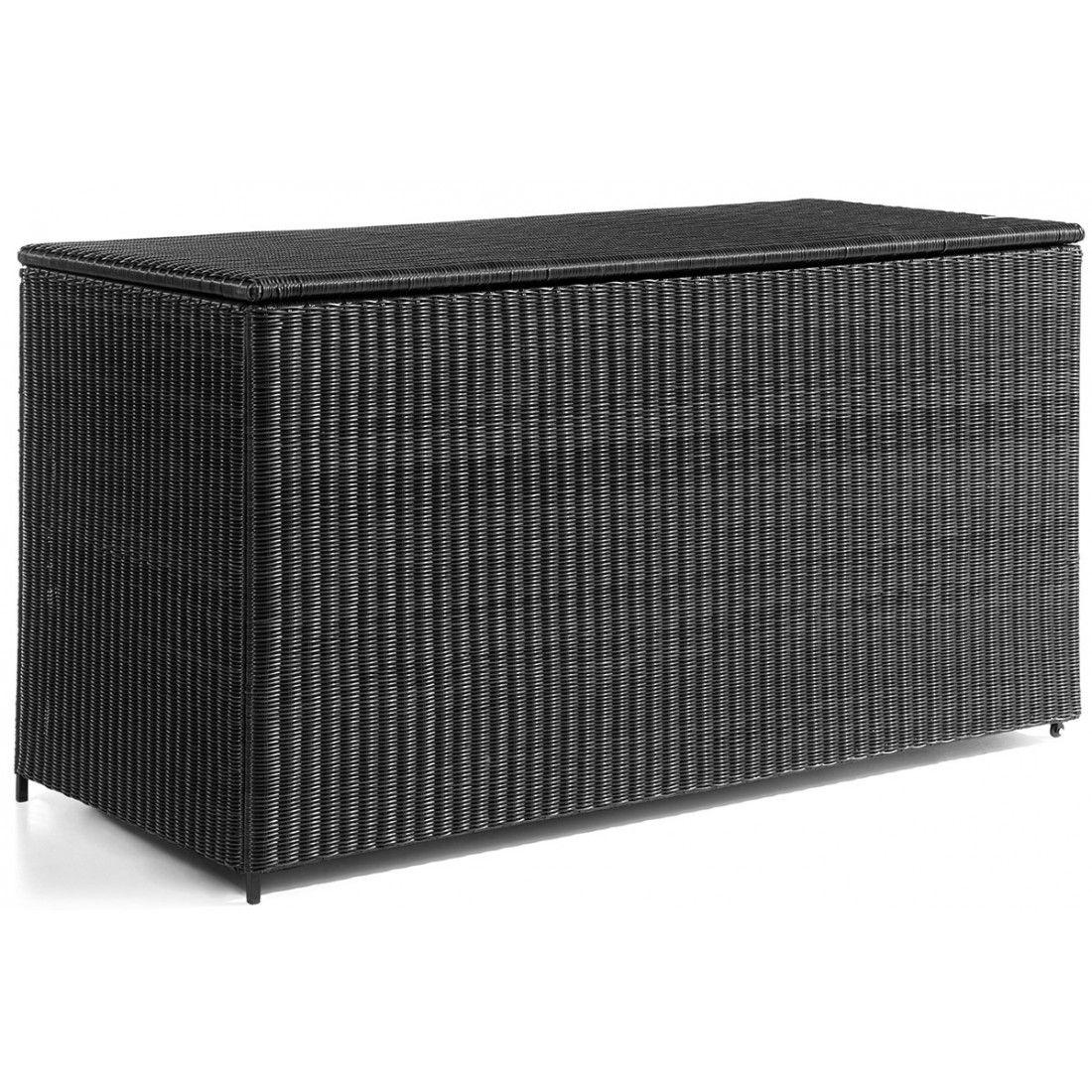 Coffre de rangement 160 cm aluminium et résine tressée noire, Firenze