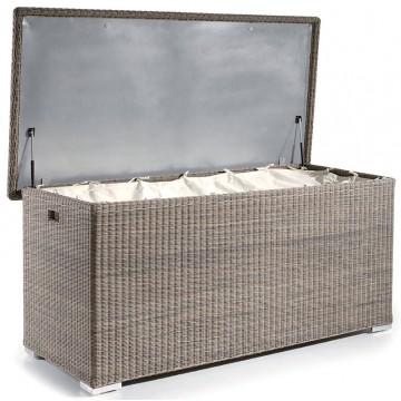 Grand coffre à coussin 210 cm en résine tressée brossé, Sacra