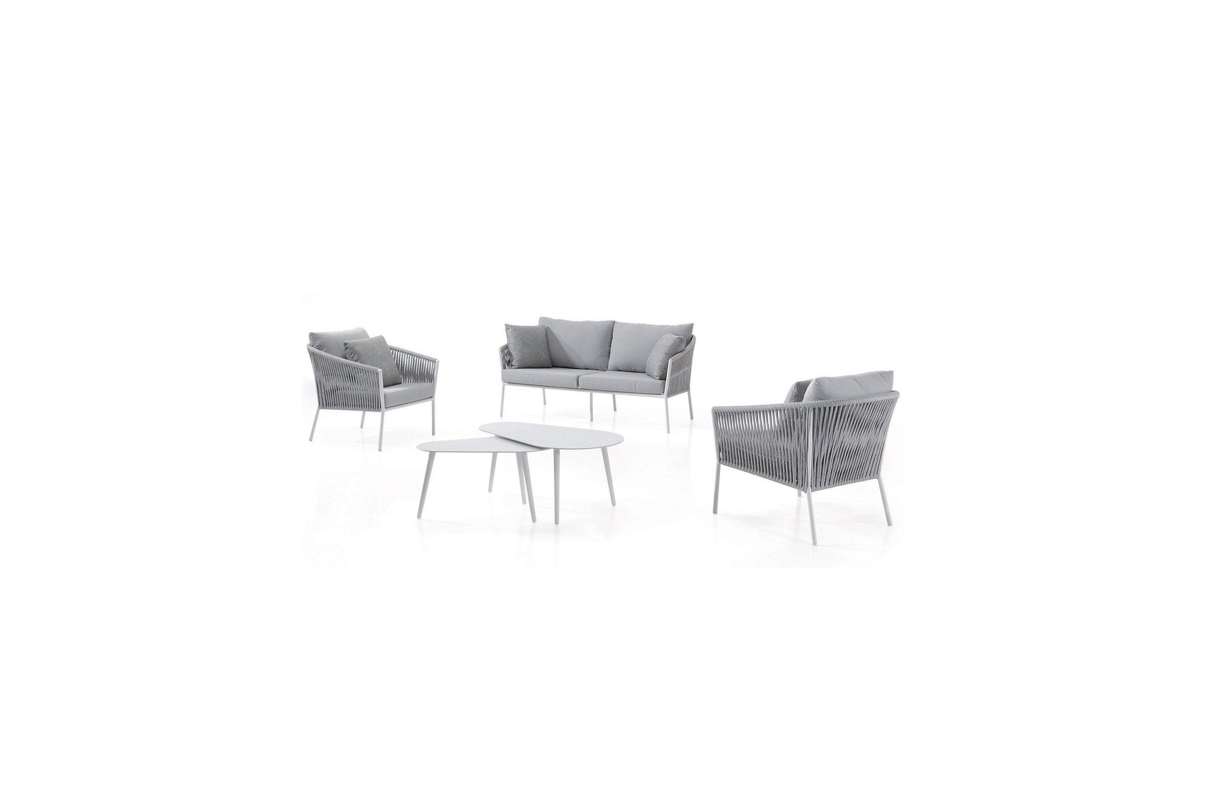 Salon de jardin design avec canapés, fauteuils, coussins et ...