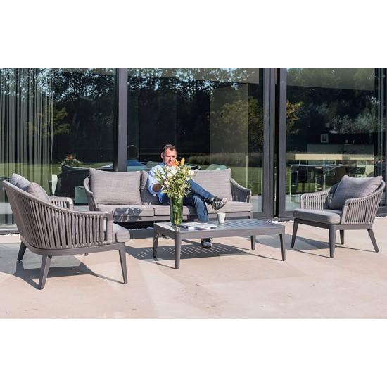 Salon de jardin design avec canapé, fauteuil et table, Fabio