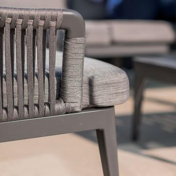 Canapé de jardin design avec dossier en rubans et coussins, Fabio