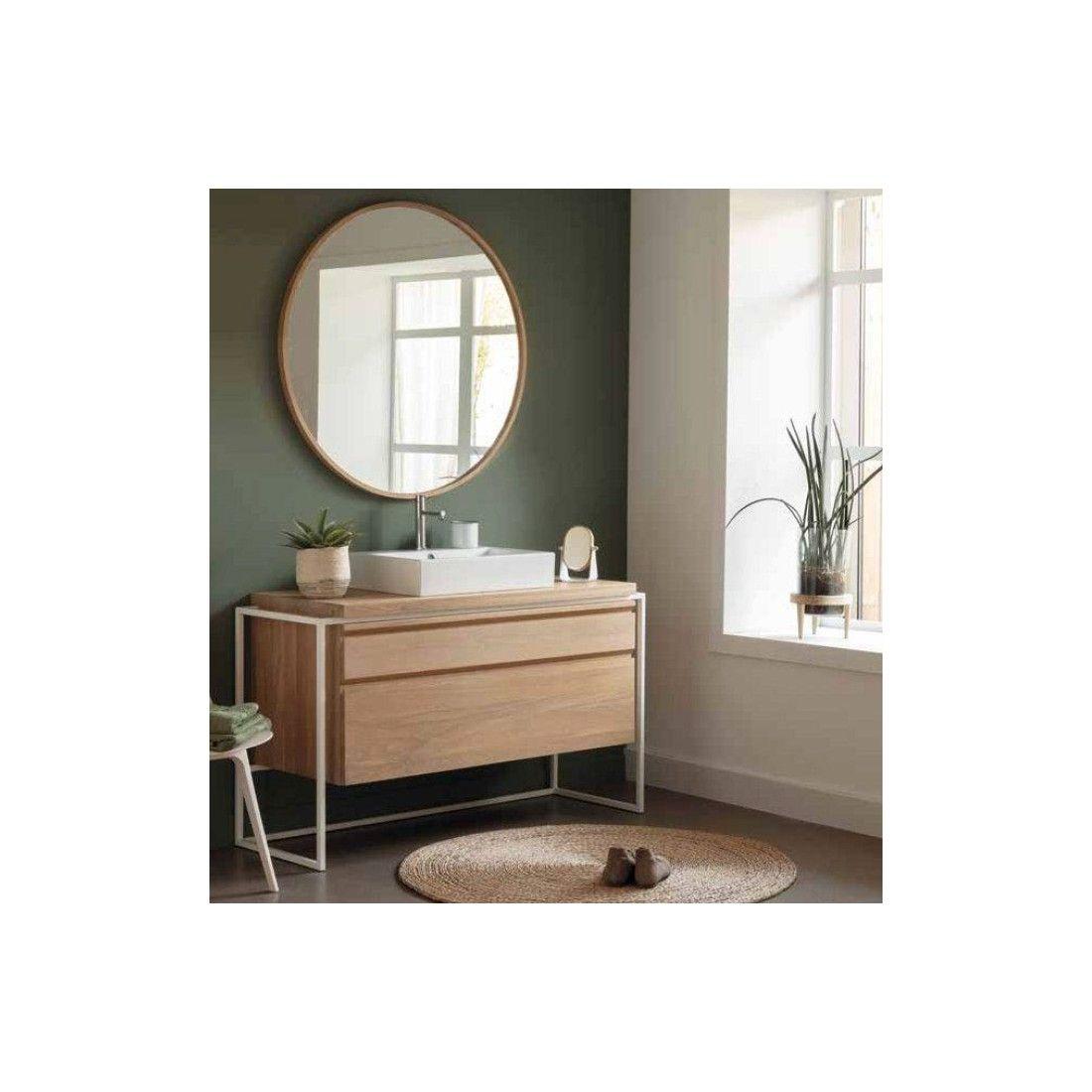 Meuble vasque en chêne avec tiroir et encadrement métalique blanc